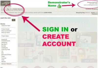 Add a host code Stampin' Up! - SIGN IN or CREATE ACCOUNT - Check that you are shopping through my online store