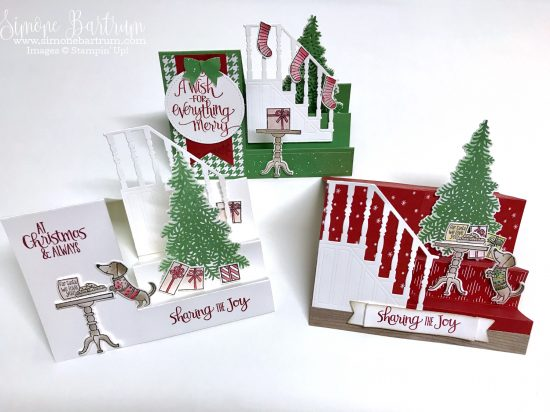 Stampin' Up!'s Ready for Christmas stamp set and Christmas Staircase framelits. Stair step cards with measurements at www.simonebartrum.com.