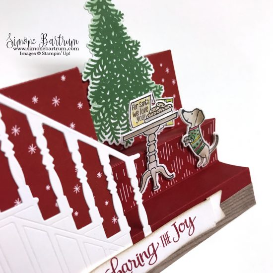 Stampin' Up! Ready for Christmas stamp set and Christmas Staircase thinlits dies. Measurements at www.simonebartrum.com.