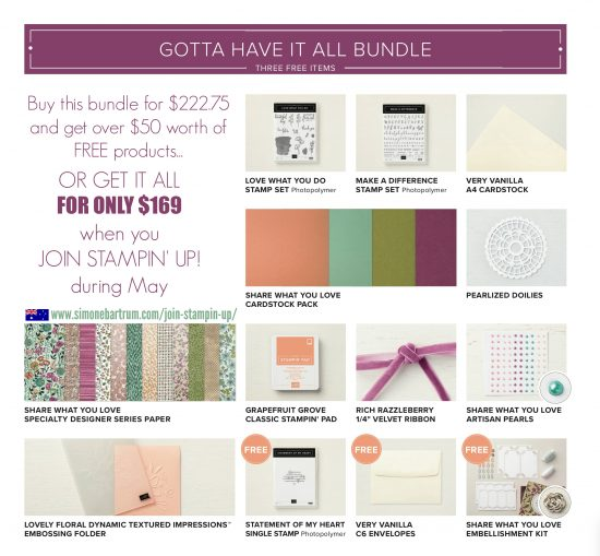 Gotta Have It All bundle - Join Stampin' Up! during May (Australia)
