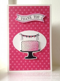 Thank You card: Make a Cake stamp set, Bitty Banners.