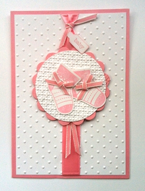 Baby card made with Stocking Punch and stamp set