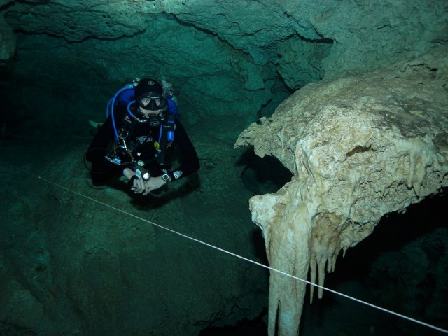 Photo by Ed Jackson on a cave dive with Simone Lipscomb and others