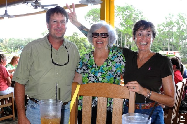 My brother Lance, mom and me a few years ago at her birthday lunch.