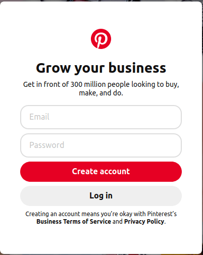 pinterest for business signup