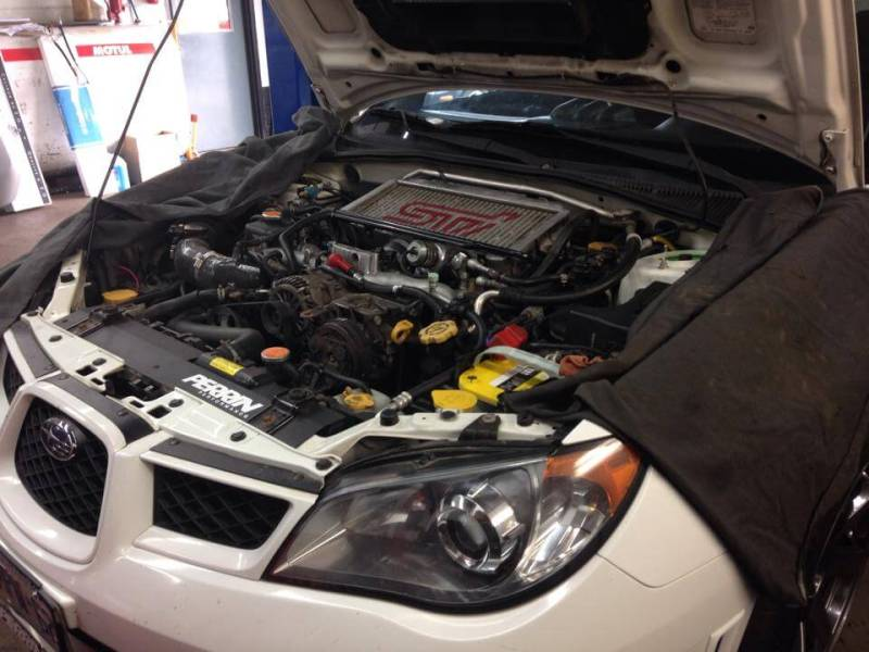 White Subaru Engine