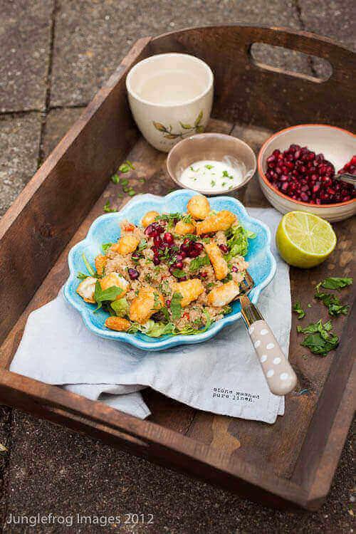 Amaranth salad with halloumi en pomegranate | insimoneskitchen.com