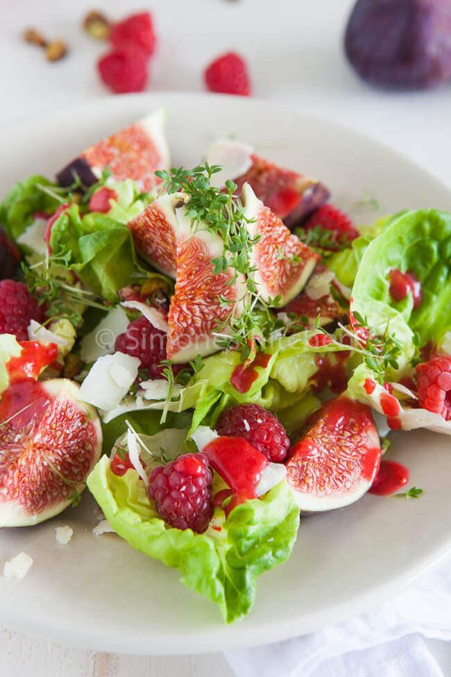 Verse vijgen salade met geitenkaas en frambozen dressing | simoneskitchen.nl
