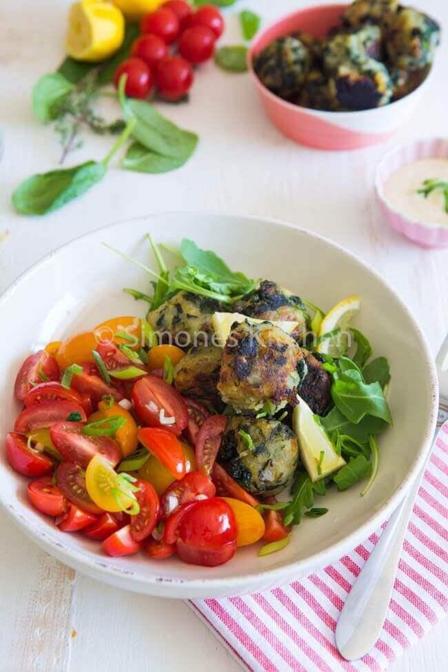 Zoete aardappel spinazie balletjes