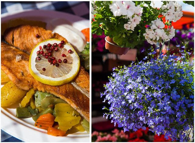 Lekker visje op een houten bankje in het openlucht markt restaurant