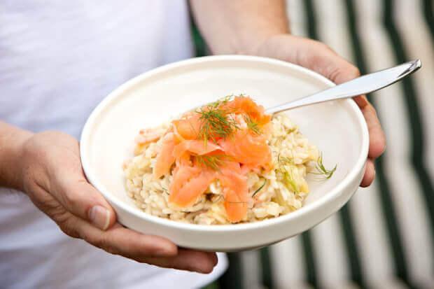 Venkel risotto met zalm en garnalen   simoneskitchen.nl