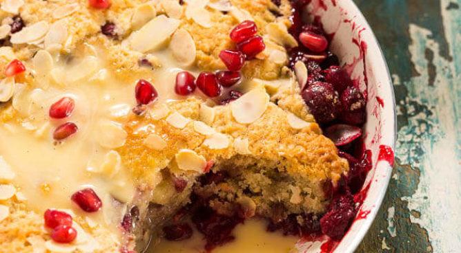 Taartje met granaatappel en cranberries | simoneskitchen.nl