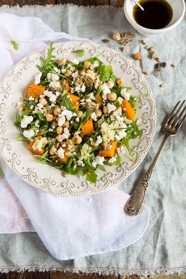 Salade met parel couscous en geroosterde pompoen | simoneskitchen.nl