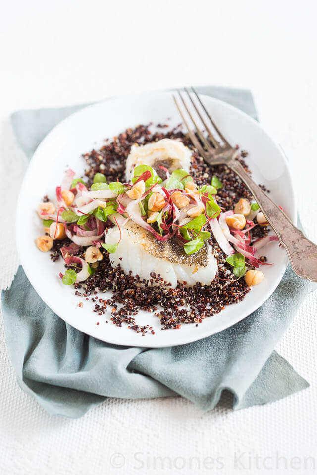 Salade met zwarte quinoa en kabeljauw | simoneskitchen.nl