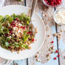 Farro salade met granaatappel en vijgen dadel azijn | simoneskitchen.nl