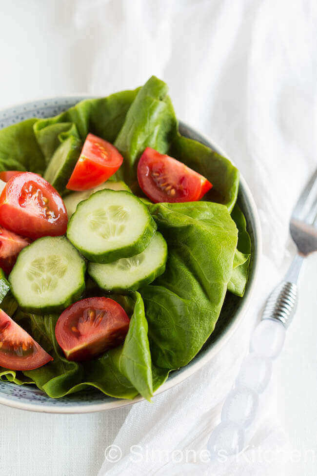 Salade met sla tomaat
