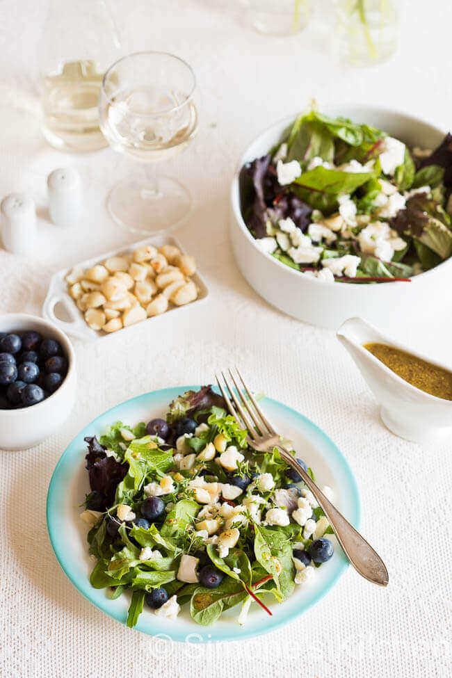Salade met blauwe bessen en geitenkaas | simoneskitchen.nl