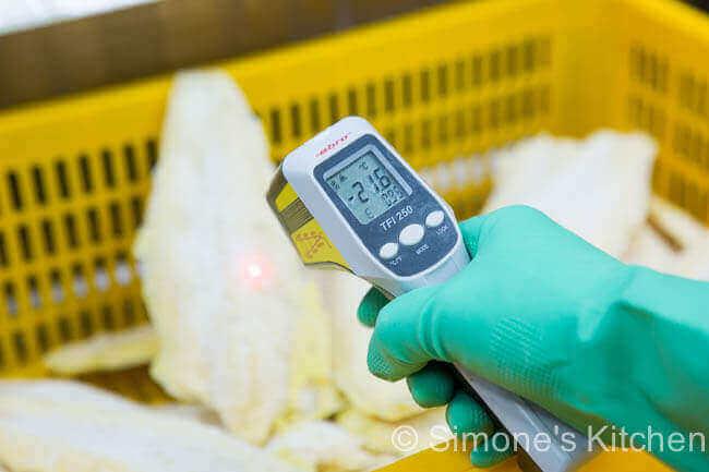 Na bevriezen is de temperatuur van de filets tussen de -18 en -22 C