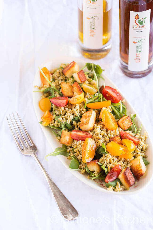Freekeh salade met halloumi | simoneskitchen.nl