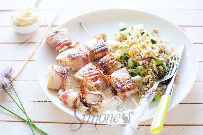 Tilapia spiesjes met bacon | simoneskitchen.nl