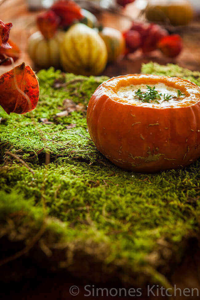 Roasted pumpkin with parmesan soup