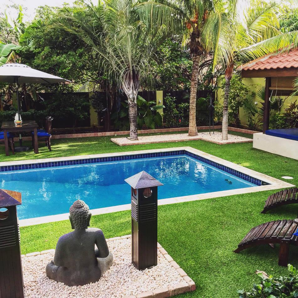 De tropische tuin bij ons appartement