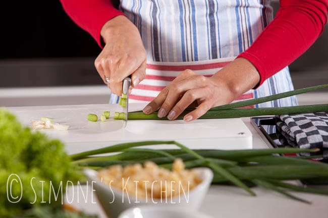 Cutting the spring onions