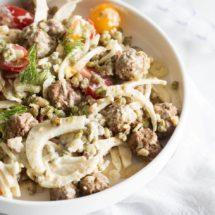 Salade met mungboontjes, venkel en gehaktballetjes | simoneskitchen.nl