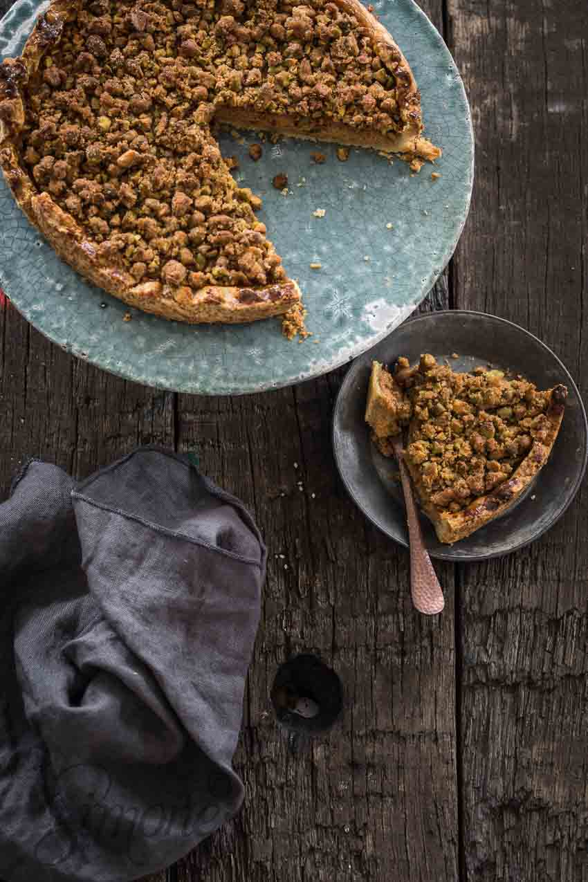 Pompoentaart met pistache crumble