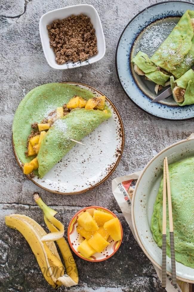 Pandan pannenkoekjes met mango | simoneskitchen.nl