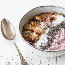Frambozen pudding met gebakken banaan | simoneskitchen.nl