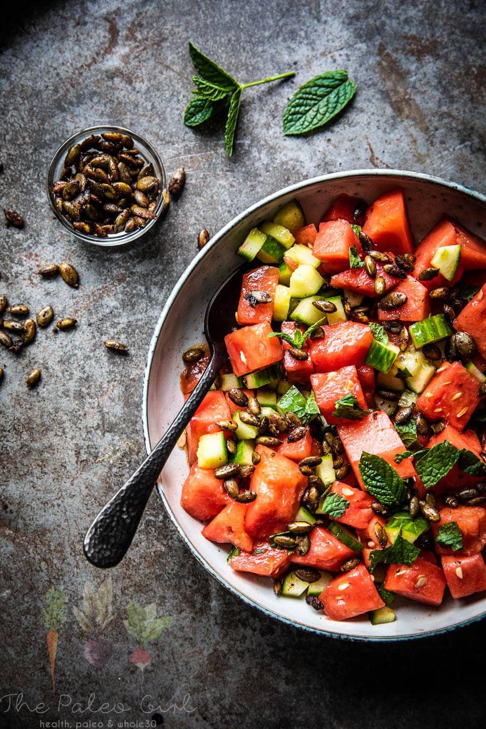 Watermeloensalade met pompoenpitten   simoneskitchen.nl