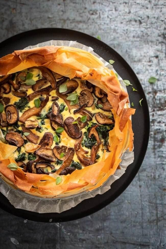 Hartige taart met fillodeeg en paddestoelen | simoneskitchen.nl