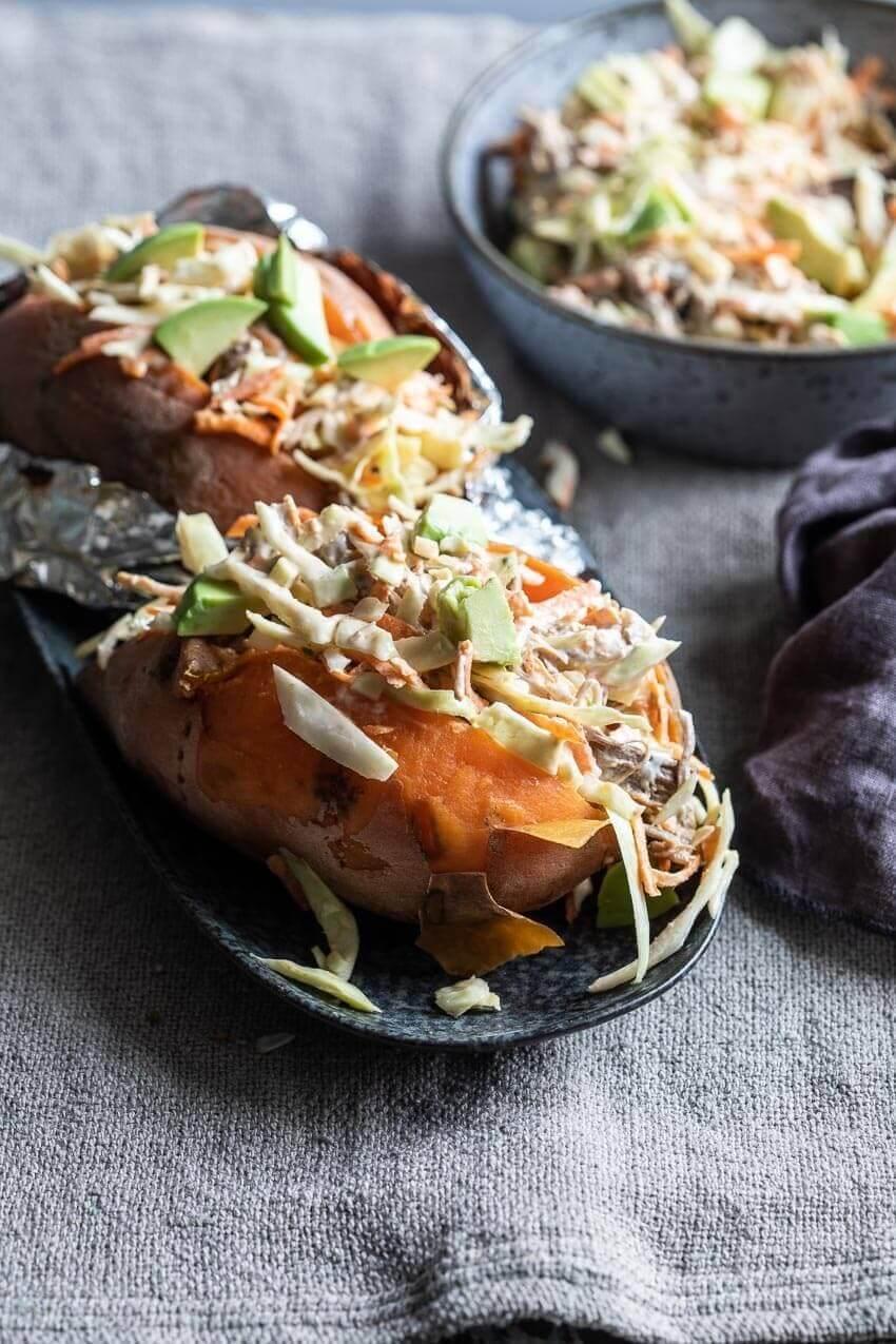 Zoete aardappel met pulled pork | simoneskitchen.nl