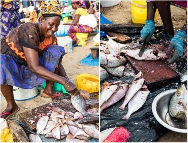 Mbour vismarkt Senegal