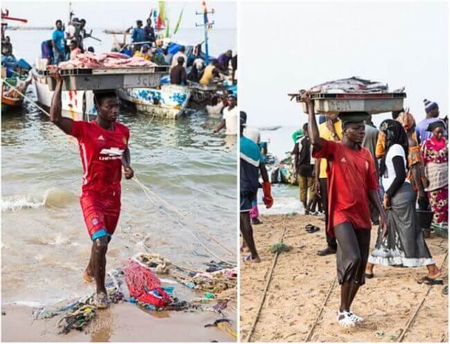 De vismarkt in Senegal