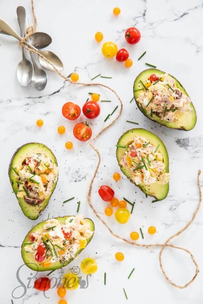 Avocado schuitjes met tonijn