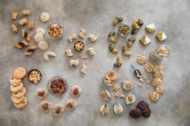 Spread met koekjes met noten