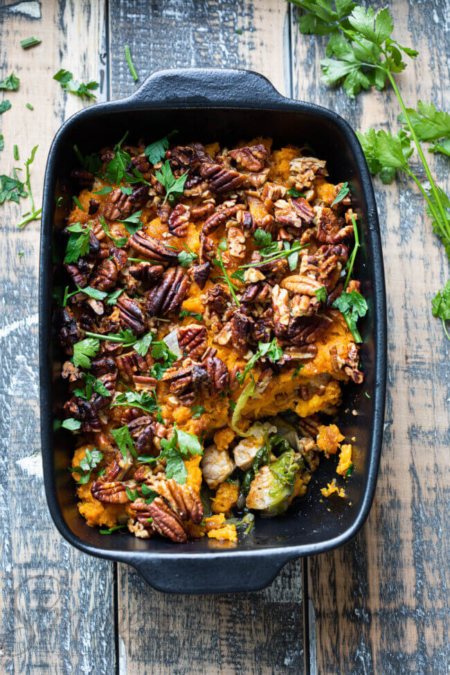 Ovenschotel zoete aardappel en andijvie