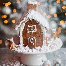 Koekhuisje met sneeuw