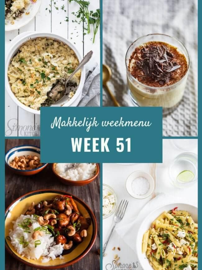 Makkelijk weekmenu voor week 51