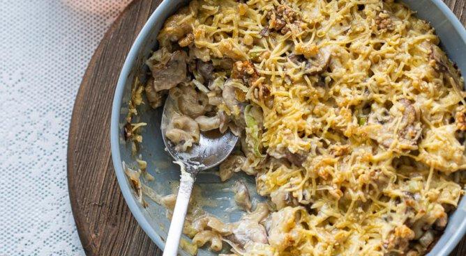 macaroni gratin met walnoten en kaas