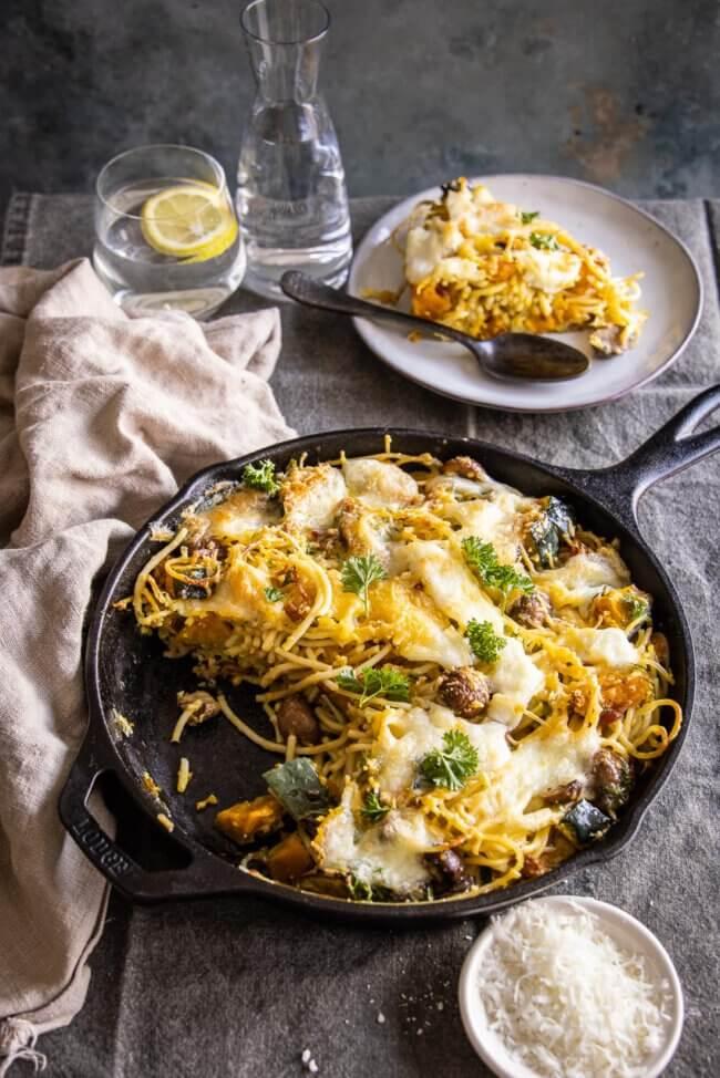 Spaghettitaart met pompoen