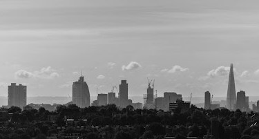 A picture of the London Skyline in black & white