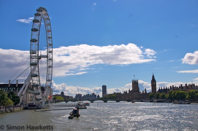 A picture of the River thames and the london eye