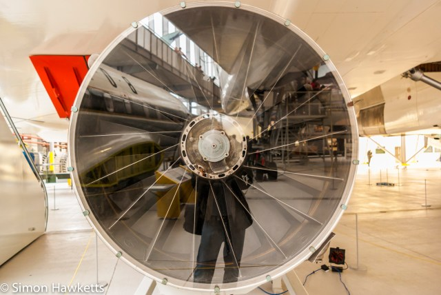 Duxford aircraft museum pictures with Pentax K200 - A reflection in a large jet engine turbine