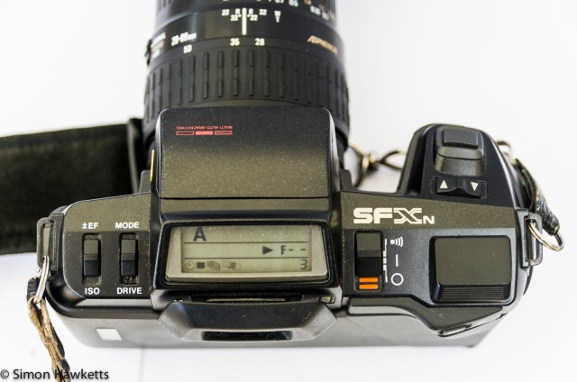 Pentax SFXn showing LCD display