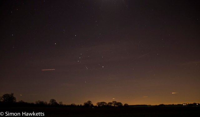 Night time pictures of stars - Orion's belt