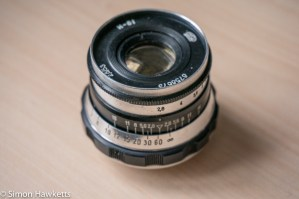 Industar 61 showing adjustment of aperture and focus