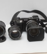 A Sony Nex 6 mirrorless camera with Takumar prime lenses
